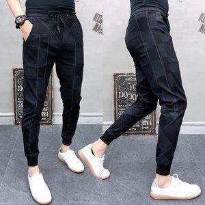 2019 Autum Mens Joggers Pantalones Hip Pop Casual Lápiz Pantalones de chándal Pantalones Streetwear Plaid Negro Casual Harem Pantalones talla grande T200415