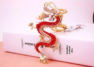 Estilo chinês zodíaco criativo dragão artesanato com chaveiro de diamantes pingente de metal chaveiro dos homens