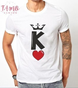 2019 Summer Cotton Couples Lovers T Shirts Crown K Print Sweet Short Sleeve Tops Amp; Tees Fashion Love Heart T Shirt