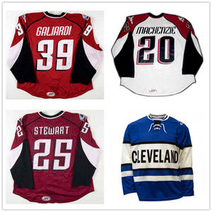 Personalizzato AHL Cleveland Lake Erie Monsters 25 Stewart 20 Mackenzie 39 Galiardi Hockey maglie blu bianca rossa cucita Logos formato S-6XL
