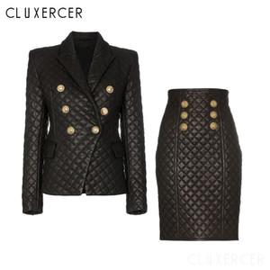 Dois inverno Piece Set manta Pu Mulheres ternos elegantes de couro manga comprida Blazer + saia 2 Pedaço Sets Set de escritório fêmea Blazer