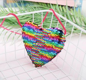 Children's sequins coin purse heart-shaped lanyard shoulder diagonal package kindergarten children's diagonal small wallet