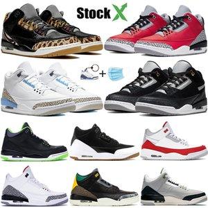 Zapatillas de baloncesto Air Jordan 3 Wolf gris para hombre Fire Red Black Cat Cemento blanco Infrarrojo Deporte True blue Hombre Zapatillas de deporte US7-13