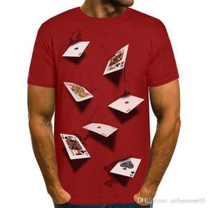 Mens-T-Shirts Sommer-Art- und stilvolle beiläufige Top Kurzarm-T-Stücke 3D Poker Designer