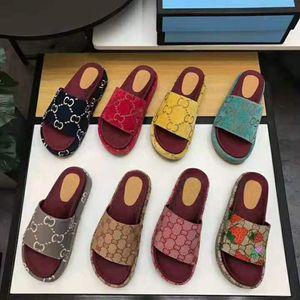 DIAPOSITIVA DWAY alta calidad en el algodón de las mujeres de lujo de diseño sandalias bordadas manera de la plataforma del diseñador deslizadores las mujeres de letras del deslizador de las sandalias