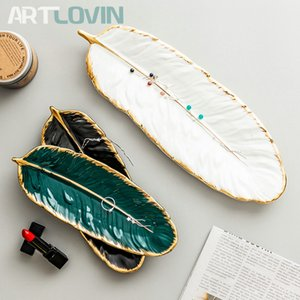 Gold Plating Ceramic Plate Set Fashion Feather Design Jewelry Tray Tableware Accessories Dim Sum Fruit Plate Kitchen Dining Dish