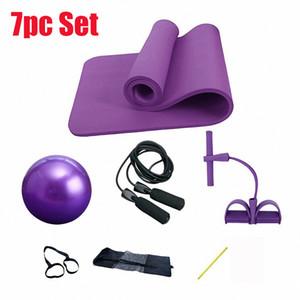 7pc / set Yoga Pilates fitness kit del sistema de 10 mm de espesor Yoga Mat Sit-up de tracción por cable Bandas de resistencia del ampliador de 25 cm de goma de salto de cuerda