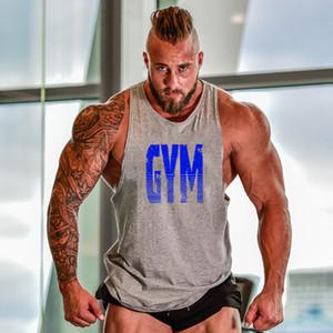 Marca Ginásio Roupas Fitness Homens Tanque Top Mens Bodybuilding Stringer Tanque Tops Algodão Treino Singlet sem mangas Camiseta