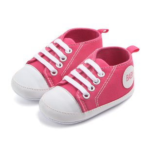 Cheap Baby Boys Girls Shoes Pre-Walker Soft Sole Pram Shoes Canvas Sneakers Trainers Fashion Kids Casual Toddler Boots
