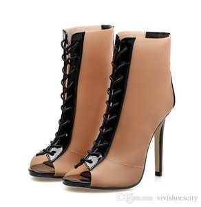 New black beige mixed color patchwork high heels sexy party club shoes peep toe ankle bootie size 35 to 40