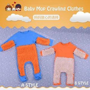 Maglia bambino Mop Piedini vestiti Lala manica lunga striscianti Abbigliamento tuta di un pezzo del vestito infantile del cotone di pulizia Mop Suit