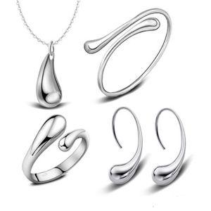 925 Pulseras de plata chapada en agua Pulsera Collar Anillos Pendientes Conjuntos Conjuntos de joyería nupcial de boda para mujeres Regalo de Navidad