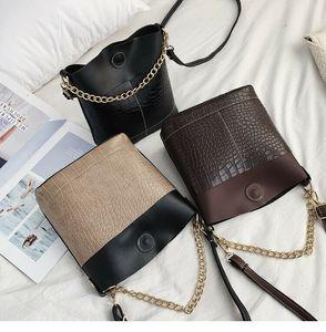 OCARDIAN Bag Mulheres Casual PU Leather Lazer saco botão balde Mensageiro Crocodile Bag Vintage Bolsas Padrão