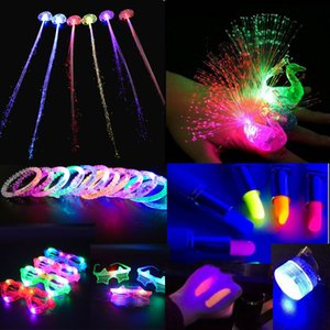 LED Light Toys Pigtail 1pcs Braid Luminous Lipstick Blinds Glasses Bracelet Glow Rave Party home decor wedding birthday