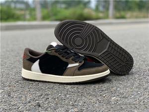 Zapatos de baloncesto al por mayor del diseñador Scott Travis 1 Baja Cactus Jack Man Lo último I Negro Vela Oscuro Mocha Universidad Formadores rojas de la manera