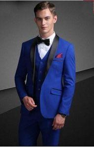 Groom Tuxedos Royal Blue Groomsman Mariage Noir Châle Chemin 3 pièces Fashion Hommes Business Brow Jacket Blazer (veste + pantalon + cravate + gilet) 2287