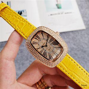 톱 브랜드 명품 여성 시계 galet 아이스 캐주얼 시계 석영 운동 가죽 밴드 전체 다이아몬드 높은 품질의 패션 드레스 시계 밖으로