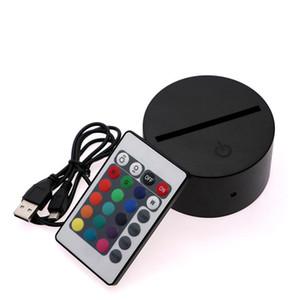 Multicolor-Touch-Schalter Moderne schwarze USB-Kabel Fernbedienung Nachtlicht Acryl 3D LED Nachtlampe Assembled Base LED Nachtlampe