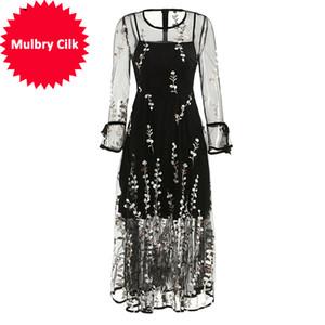 Manica lunga ricamo floreale Mesh Overlay abiti eleganti vacanze di moda primavera-estate donne del vestito vintage