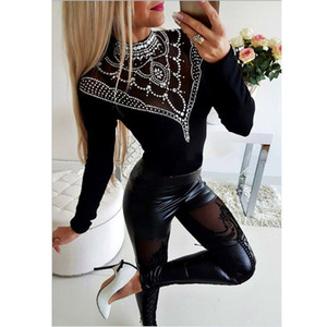 Delle nuove donne vita alta rappezzatura del merletto della Faux Leather Pants Slim Fit Skinny Stretch Leggings Criss-cross matita Pant pantaloni 2019