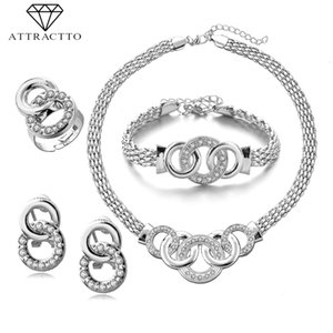 ATTRACTTO High Quality Silver Wedding Necklaces Earrings Ring Bracelet Sets For Bridal Elegant Lady's Gold Jewelry Set SET190011