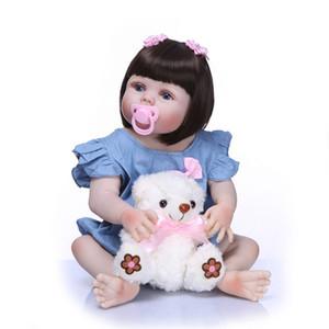Bebe Reborn Bebek Kız Reborn Bebekler Çocuk Oyuncak Tam Silikon Vinil 23 '' 57 cm Gerçek Hayat Bebe Reborn Alive Doll El Yapımı Bonecas