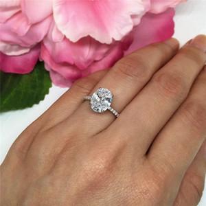 Coppia Splendida anelli gioielli Size 5-12 Colomba Uovo anello ovale Cut Bianco cubico zircone Eternity Diamond aggancio di cerimonia nuziale anello della fascia Accessori