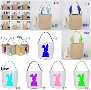 21style Easter Rabbit Baskets Easter Bunny Bags Rabbit Printed Canvas Tote Bag Egg Candy Bucket Baskets Tote GGA3190