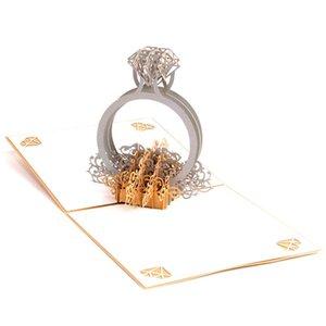 Gruß-Postkarte Gift Card Gold Laser-Schnitt 3d Ring Pop up Hochzeit Einladungen Romantische Handmade Valentine s Day für Liebhaber