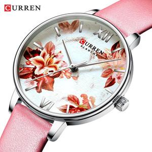 CURREN Lederband Uhren Damen-Quarz-Uhr Schöne rosa Armbanduhren Damen Uhr Female Fashion Design Charme-Uhr