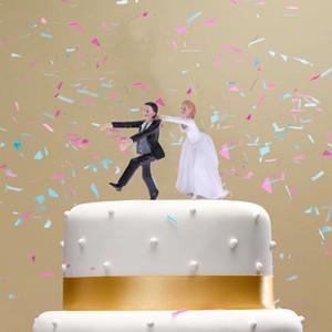 لطيف الاصطناعية الراتنج العروس العريس كعكة الزفاف توبر ديكور مضحك حفل زفاف الديكور الإحسان تمثال الزفاف كرافت هدية