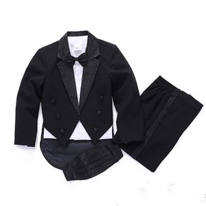 Hot 2018 Fashion high quality black white child suit for boy wedding suits for boys Flower baby suits 5-Piece free shipping