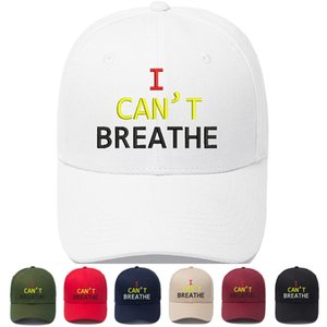 7 colors Embroidery baseball cap I can't breathe Letter Print Summer hat Boy Girl baseball tennis Sports cap hat JJ466