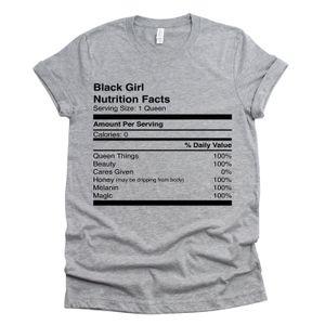 Black Girl Факты Питания Футболка для Женщин Melanin Shirt Queen Факты Питания Рубашка Юмор Тройники Для Женщин Y19051301