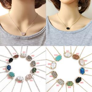 Nuovo designer Druzy collane drusy Ciondola gioielli orecchini Set Donna Geometrica naturale pietra ciondolo in pietra per gioielli di lusso da donna