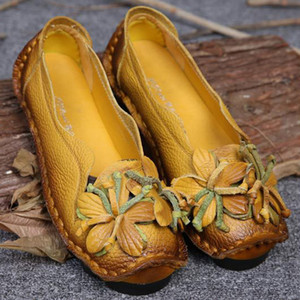 New Women Genuine Leather Shoes Flowers Handmade Shoes Women's Ballerina Flats Floral Soft Flats Bottom Casual Shoes