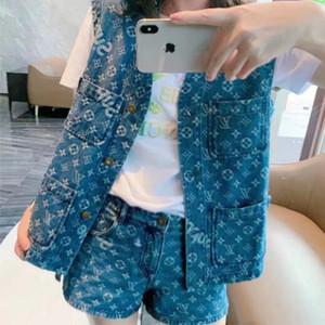 Kadınlar Kot Vintage Harf Jakarlı İki Piecents Gömlek Yelek Ceket + Şort Mini Pantolon Kadın Pist Kovboy Gömlek Setleri Tops