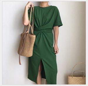 LANMREM 2020 Summer New Solid Color Loose Round Neck Natural Waist Vintage Split The Fork Fashion Women Dress E4100 T200604