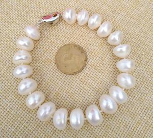 2019 nouvelles photos de véritables photos 11-12mm Bracelet blanc perle mer sud 7.5-8inch 925s Livraison gratuite