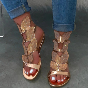 Frau Sandalen Frauen handgemachtes Frauen Strass-Kreuz Schmetterling Dekoration Wohnungen weibliche sexy Schuhe Damen Sandalen Plus Size 43