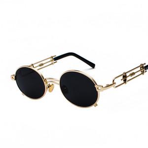 lunettes de soleil rétro steampunk hommes rond cadre vintage 2019 monture en métal doré noir fashion lunettes de soleil ovales pour femmes rouge mâle designer nuances