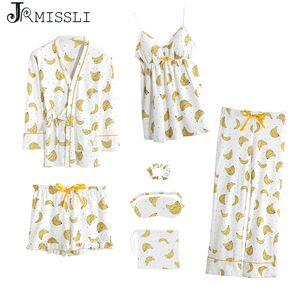 JRMISSLI Cotton 7 pièces Pyjama Sets femmes Pyjama Vêtements de nuit banane printemps été décontracté Femmes confortable Homewear