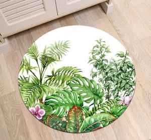 Hand Drawn Fleurs et feuilles de plantes tropicales Ronde Tapis Tapis Living Chambre antiglisse Tapis Home Décor Tapis de sol