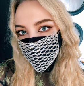 Bling strass Mask Mesh strass visage Jewlery pour les femmes creux élastique visage Bijoux du corps Night Club Party Masques GGA3437-2