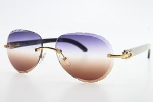 도매 무테 선글라스 원래 화이트 내부 블랙 버팔로 호른 8,200,765 남여 안경 쉴드 고품질 타원형 선글라스 남성