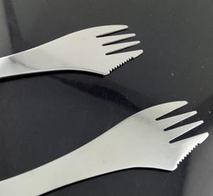500pcs barato Tenedor cuchara spork 3 en 1 acero inoxidable vajilla cubertería utensilio de cocina al aire libre de picnic cucharada / Juego de cuchillos / tenedor