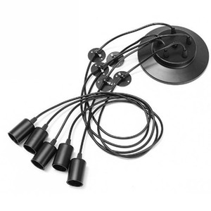 Aranha Do Vintage preto Pendant Lamp Pendurado Candelabro Comprimento Ajustável Retro E27 Edison Lâmpada Cabeça Clássico Decoração Luminária de Teto Luminária