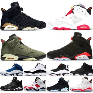 Nike Air Jordan 6 Retro Diseñador de hombres 6 6s zapatos de baloncesto Tinker UNC Azul Negro Gato Blanco Infrarrojo Carmín Maroon Toro Mens Trainer Sport Sneaker Tamaño 41-47