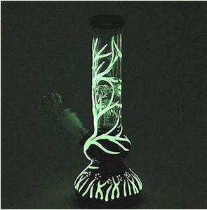 يتوهج في الظلام الداكن بونغ 4-Arms شجرة Percolator Perc الزجاج بونغ أنابيب المياه تلاعب النفط فريدة من نوعها الحفارات 10.5 ''
