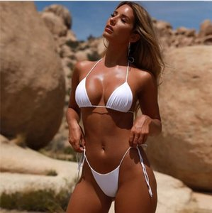 2019 solid color swimsuit belt solid color nylon fabric sexy chest pad low bikini swimsuit bikini price